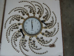 Meida 28 inch Large Wall Clocks Handmade Stylish Wall Clock GOLD with Crystals