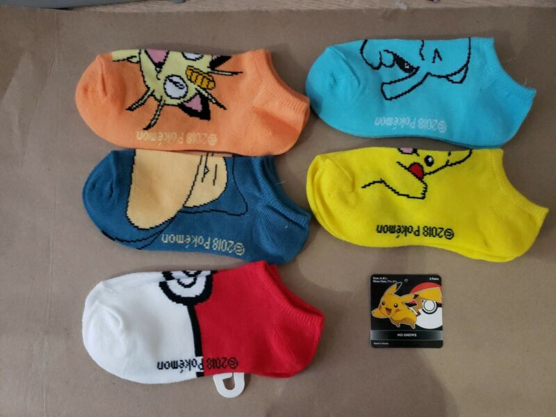 Pokemon Socks Boys Kids 5 Pairs No Show Pikachu Shoe Size 7 1/2- 3 1/2 NWT