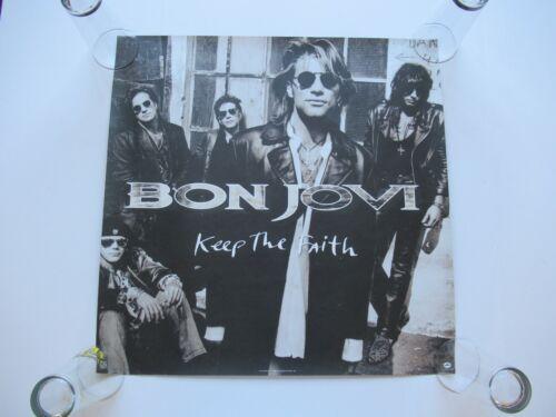 VINTAGE 1992 BON JOVI KEEP THE FAITH PROMO 24x24 2-SIDED STORE POSTER JON RICHIE