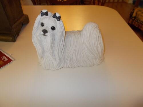 MALTESE Dog Statue Sandicast Sandra Brue 1987 Sculpture Bows / /Doorstop