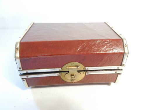 Vintage Leather Covered Wood Trinket Storage Box w/ Brass Trim & Lockable Clasp