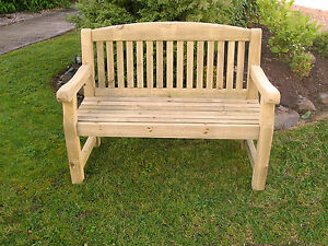SOLID TREATED WOOD TWO SEATER 4' GARDEN  PARK MEMORIAL BENCH DINING SET