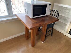 Small solid cherry wood rustic table