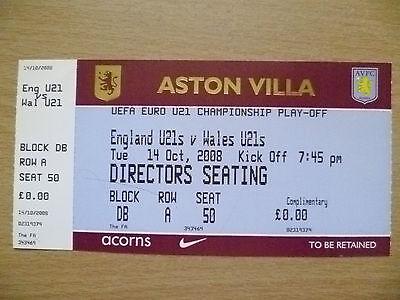 Ticket- UEFA EURO U21 Championship PLAY OFF- ENGLAND U21 v WALES U21,14 Oct 2008