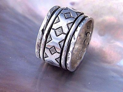 Handcrafted.925 Sterling Silver Triple Band Spinner Ring -Cross Spinner Design