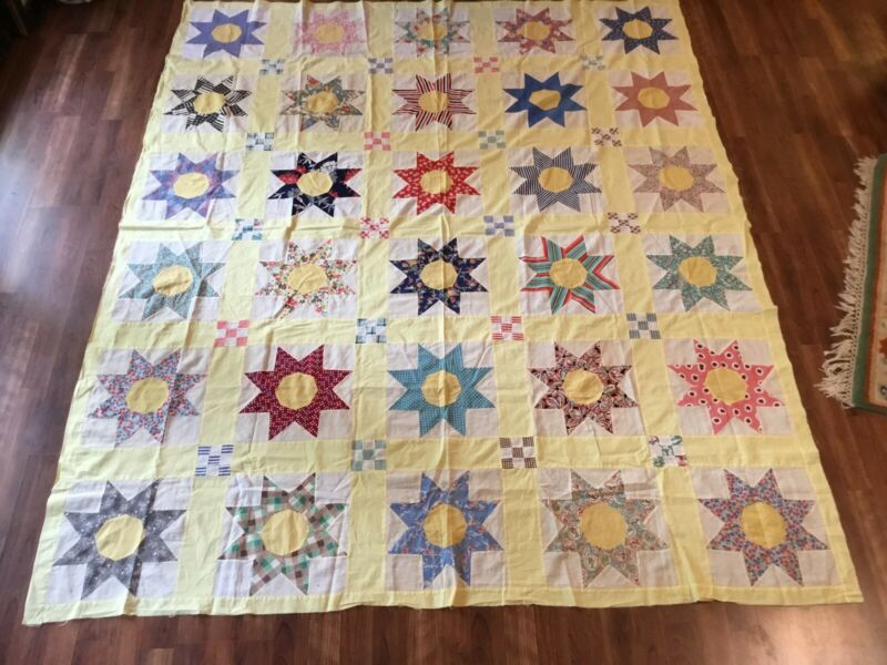 Antique Vintage c1940s Colorful 8-point Star Quilt Top 86x71 Great Condition Wow