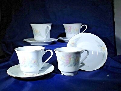(4 JAMESTOWN China  FLORAL JAM2  CHINA Cups and Saucers  PRISTINE Dinnerware)