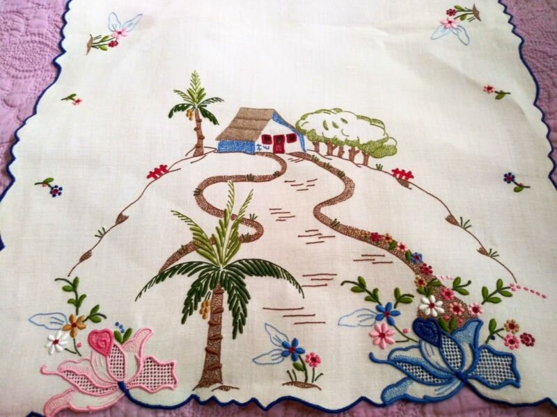 "Rare Spectacular Colorful Madeira Island Theme Embroidered Linen Runner 41""x 16"""