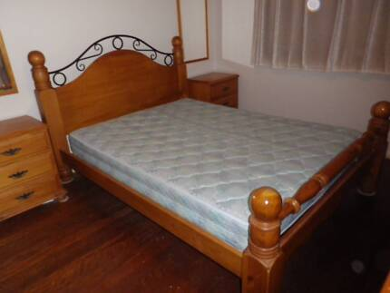 Queen Bed, two side tables and a mattress if you want