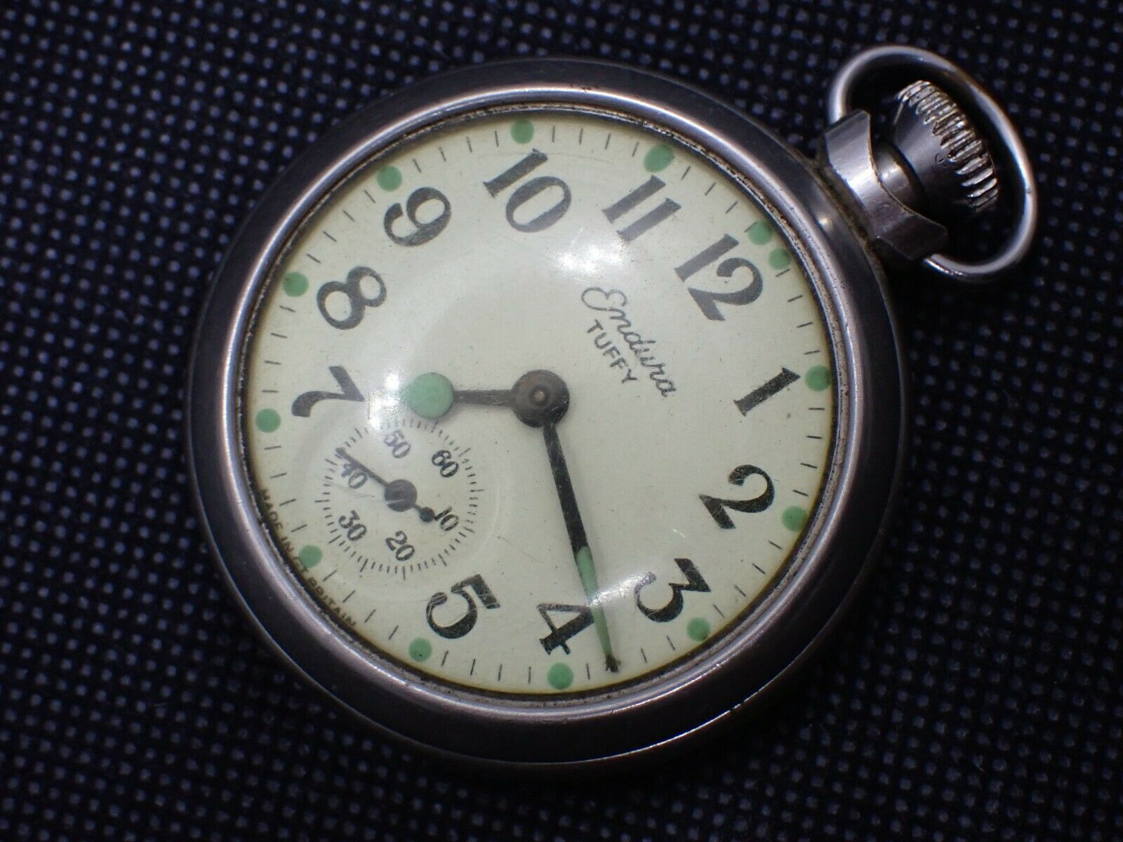 Vintage 1967 ENDURA TUFFY Dollar Wind Pocket Watch RUNS Great Britain - $25.00
