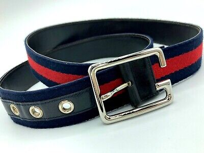 GUCCI VINTAGE CHERIE WEB CANVAS LEATHER BELT MEN INITIAL G SILVER BUCKLE ITALY