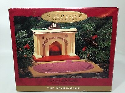 Hallmark Bearingers Flickering Lighted Fireplace 1993 Christmas Ornament