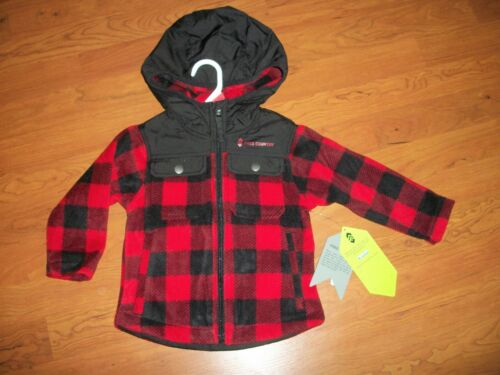 New with tags, boys Free Country buffalo plaid fleece zip up jacket, 2t