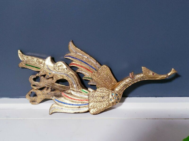 "Vintage Wooden Dragon Sculpture Teak Wood Mirrored Wings Wall Hanging Gold 19"""