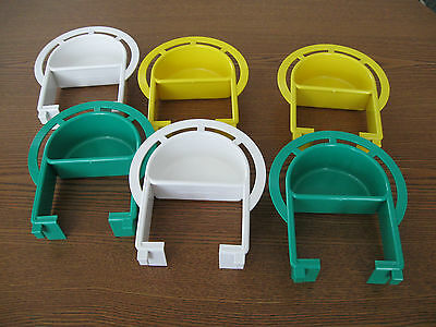 Bird cage plastic Extended feeder dish  Medium set of 6 dishes