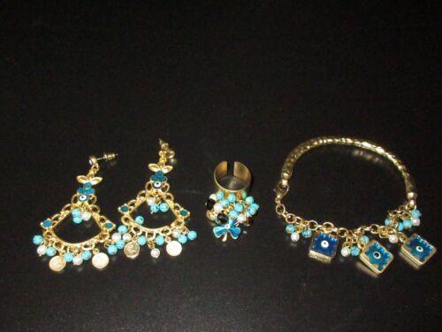 Bracelet Earring Ring Set Gold Tone Evil Eye Turkish Dangle Beaded Turquoise