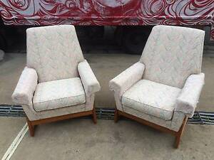 Arm Chairs x 2, Sofa, mid-centurey Fabric, vintage WE DELIVER Brunswick Moreland Area Preview