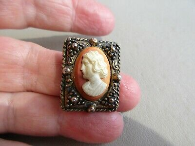 VINTAGE ANTIQUE GOLD TONE PRETTY CAMEO LADY HEAD BROOCH PIN LOVELY GIFT IDEA OLD - Lady Costume Ideas