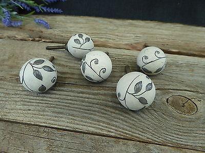 Gray Leaves Leaf Clay Ceramic Knob Drawer Pull - Rustic Romantic Country  Boho