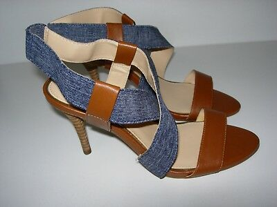 WOMENS BROWN BLUE DENIM JESSICA SIMPSON SLINGBACK SANDALS HEELS SHOES SIZE 6.5 M
