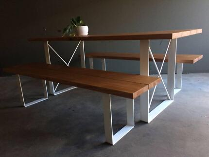 Custom Made Timber Industrial Outdoor Dining Setting