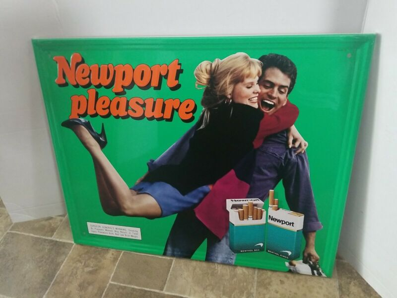 1993 Newport Cigarette pleasure sexy lady tin sign store advertising sign new