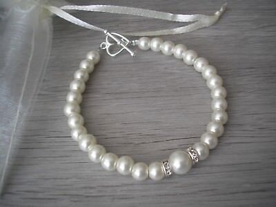 Bridal Clasp Bracelet - 57s Pearl & Diamante Bracelet Bridal Bridesmaid Wedding Love Heart Toggle Clasp