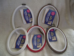DMC-Oval-Flexi-Hoop-for-Embroidery-Cross-Stitch-Choice-of-Size-Colour