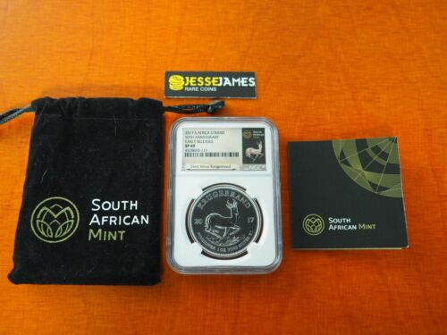 2017 SOUTH AFRICA SILVER KRUGERRAND NGC SP69 FIRST RELEASES 50TH ANNIVERSARY