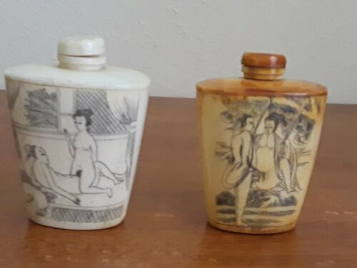 Lot of 2 Antique Chinese Erotic Snuff Bottles & Top Hand Carved Figures