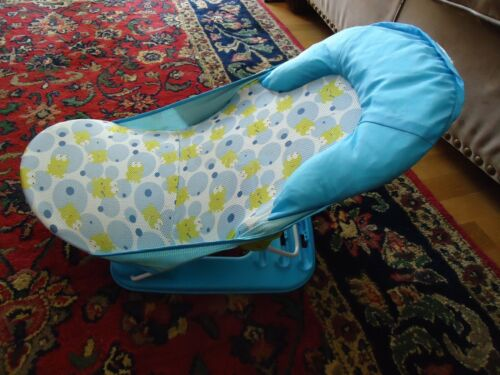 Infant Bather Seat Newborn Adjustable Bath Support Blue w/Frogs Bath Time
