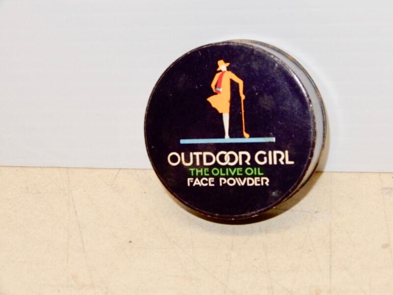 ANTIQUE ART DECO OUTDOOR GIRL FACE POWDER BOX NOS