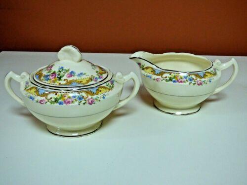Crooksville China Co. - Sugar & Creamer - Gold Trim - Floral Pattern