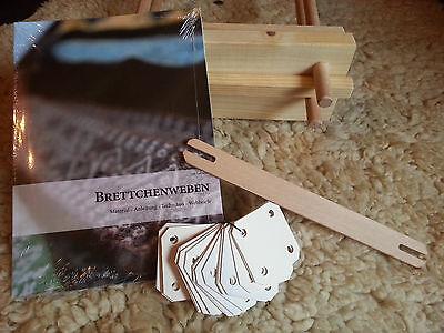 Brettchenweben Einsteiger Set Webrahmen,Buch,Schiffchen,Brettchen tablet weaving