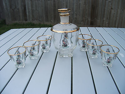 VINTAGE FRENCH ART GLASS SHIP DECANTER SET