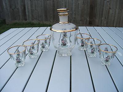 VINTAGE FRENCH ART GLASS SHIP DECANTER LIQUOR SET