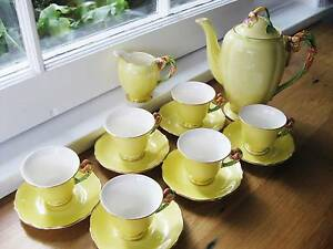 EXQUISITE ART DECO Coffee set GRIMWADES Yellow Petunia mint condi Lawson Blue Mountains Preview