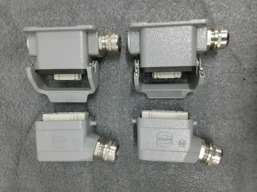 2 Sets - Harting Male / Female 6 Pin Connector w/ Housing 16A 500V Han 6 ES-M, F