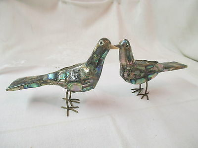 Pair of metal Bird Figurines Abalone Mother of Pearl finish