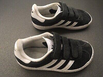 Boys Adidas Gazelle Trainers Black Infant 8K (UK) Fair condition