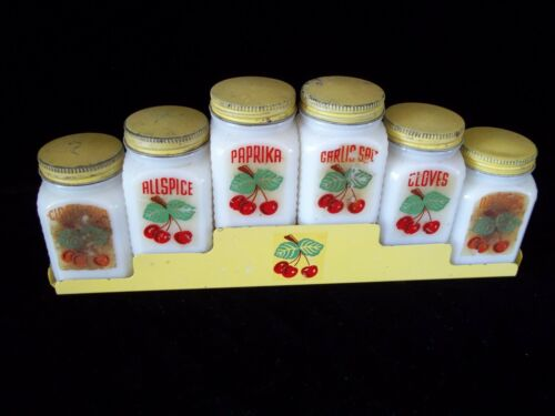 Antique McKee Tipp Spice Jars + Rack White Milk Glass Original USA Cherries 40