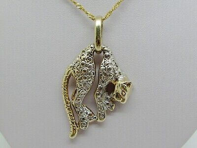 GORGEOUS 10K SOLID YELLOW AND WHITE GOLD 3D PANTHER PENDANT CHARM