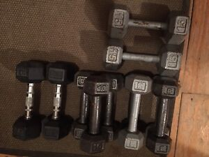 112 lbs of Dumbbells & accessories