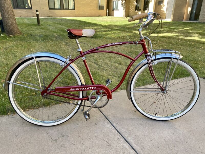 1955 Red Schwinn Corvette 3-speed Sturmey Archer Completely Restored