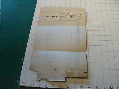 vintage paper: 1907 LACONIA MARKET, laconia NH - long grocrery list of items,