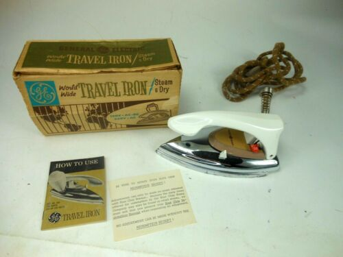Vintage World Wide GE Travel Iron w Box and Papers General Electric