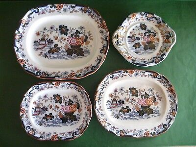 Antique Minton BB New Stone c1830 Amherst Japan Imari - 3 Platters & Cake Plate