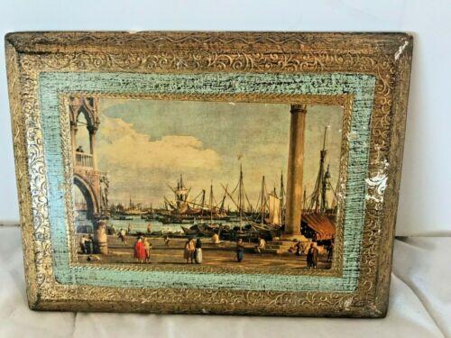 "Vintage Italian Florentine Wood Plaque Water Harbor Scape #8001 Approx 6""x8"""