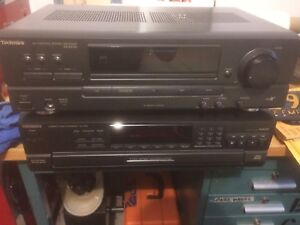 Technics stereo amplifier and CD player.