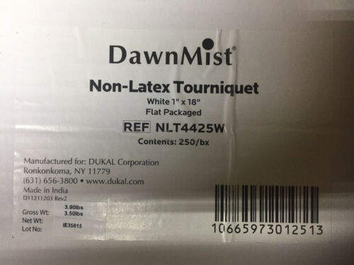 "DUKAL DawnMist Tourniquets 250 White 1"" x 18"" non latex medical clinic EMT"